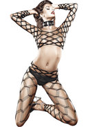 Two Piece Diamond Net Bodystocking
